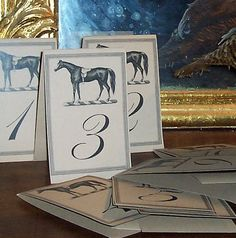 Wedding Table Number Equestrian Horse Large Cards in by HappyHound, $36.00
