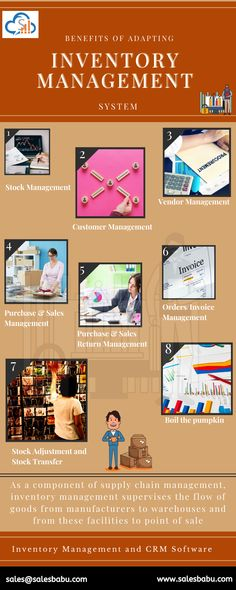 As a component of supply chain management, inventory management supervises the flow of goods from manufacturers to warehouses and from these facilities to point of sale -Stock Management -Customer Management -Vendor Management -Purchase & Sales Management -Purchase & Sales Return Management -Orders/Invoice Management -Stock Adjustment and Stock Transfer -Boil the pumpkin  (Inventory Management and CRM Software) Sales Crm, Sales And Marketing, Inventory Management, Supply Chain Management, Customer Complaints, Small Business Solutions, Customer Relationship Management, Warehouses, Start Up Business