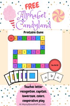Messy, Beautiful, Fun: FREE Printable: Alphabet Candyland - Learning Upper and Lowercase Letters Through Play Letter Learning Games, Letter Games, Teaching Letters, Preschool Letters, Alphabet Activities, Preschool Activities, Letter Sound Activities, Kinesthetic Learning, Alphabet Crafts