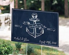 Personalized nautical wedding directional sign | BellaDonnielle.com #nauticalwedding #weddingsigns