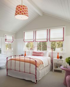 Modern Farmhouse: Girl's bedroom - light & airy; green/blue/purple accents instead? From: modernorganicinteriors.com