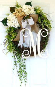 Monogram Grapevine Wreath Adoorable Wreaths by Melissa