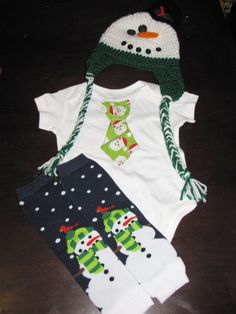 SNOWMAN SET - Tie onesie, leg warmers, crochet hat set for baby boys - Great Christmas outfit