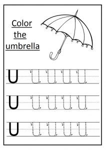 Lowercase letter w worksheet free printable preschool and trace the uppercase letter u worksheet and color the umbrella altavistaventures Images