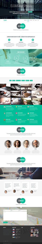 Elijah is very #clean, #flexible one page & multi page #wordpress theme. #UI #Web #Design Colours: black, white, green