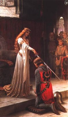 """""""The Accolade"""" by Edmund Blair Leighton. This painting has been mistakenly attributed to John William Waterhouse, however, when put beside """"God Speed"""" you can tell it is a Blair-Leighton and not a Waterhouse. John William Waterhouse, Roi Arthur, King Arthur, King John, King 3, King Henry, Eleanor Of Aquitaine, John Everett Millais, Chivalry"""