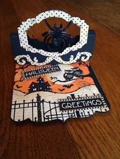Barb McCarthy using the Pop 'n Cuts Square Card Base to make a spooky Flying Easel Card. -He Golfs, I Scrap