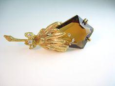 Hattie Carnegie Flower Brooch / Topaz Glass / Trembler Rhinestones / Statement 1960s Vintage Jewelry