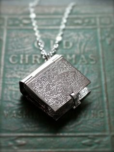 Large Sterling Silver Book Locket Necklace Rare by TforEdgar