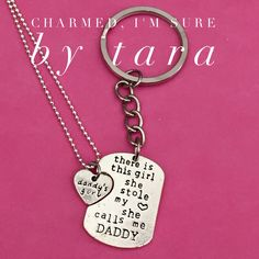 A personal favorite from my Etsy shop https://www.etsy.com/listing/478825635/daddys-girl-keychain-and-necklace-set