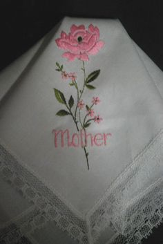 Vintage Handkerchief Embroidery Hanky Rose Mother Lace Edge