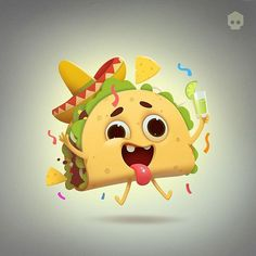 Taco Cartoon, Food Cartoon, Cartoon Art, Bengal Cat Adoption, Cute Illustration, Character Illustration, Taco Drawing, 3d Character, Character Design