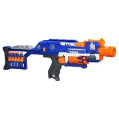 Nerf N-Strike Elite Stockade Blaster Description Join the N-Strike Elite squad and get the edge in battle with the Stockade blaster! There's no need for cocking Nerf Mod, Toys R Us, Kids Toys, Toddler Toys, Baby Toys, Baby Alive, Pistola Nerf, Nerf Gun Storage, Cool Nerf Guns