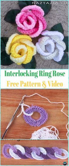 Crochet 3D Interlocking Ring Rose Flower Free Pattern & Video #Crochet;