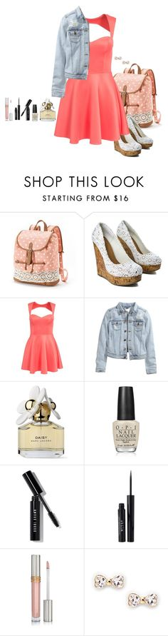 """""""Just peachy. // School Outfit"""" by rashana ❤ liked on Polyvore featuring Candie's, Oneness, H&M, Marc Jacobs, OPI, Bobbi Brown Cosmetics, Stila, Sole Society and schooloutfit2k15"""