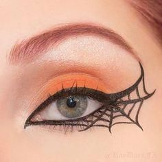 25 Spiderweb-Themed Makeup Ideas That Will Turn Heads on Hal.- 25 Spiderweb-Themed Makeup Ideas That Will Turn Heads on Halloween Pin for Later: 25 Spiderweb-Themed Makeup Ideas That Will Turn Heads on Halloween Flip the Script - Halloween Eye Makeup, Halloween Makeup Looks, Diy Halloween Costumes, Diy Halloween Decorations, Halloween Themes, Halloween Crafts, Halloween Recipe, Women Halloween, Halloween Face
