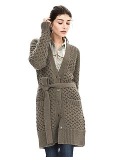 Cable-Knit Belted Long Cardigan | Banana Republic
