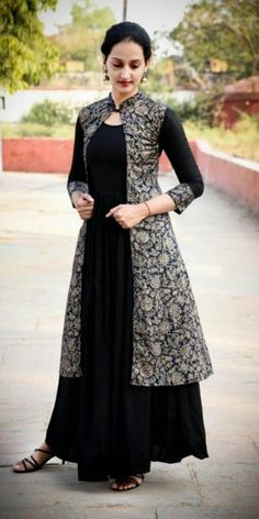 Indian Gowns Dresses, Indian Fashion Dresses, Fashion Outfits, Kurti With Jacket, Gown With Jacket, Jacket Style Kurti, Designer Party Wear Dresses, Indian Designer Wear, Stylish Dresses