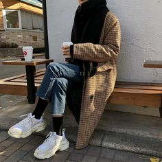 are those the balenciaga sneakers? With blue jeans and checked jacket. Fashion Moda, Look Fashion, Korean Fashion, Ulzzang Fashion, Mode Outfits, Winter Outfits, Fashion Outfits, Mode Ootd, Balenciaga Sneakers
