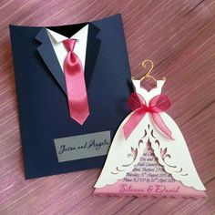 Wedding invite. . Bridal gown & tux