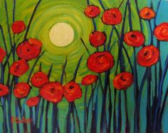 fine art by Patty Baker - original and commissioned paintings, contemporary acrylic paintings Club D'art, Art Club, Art Floral, Remembrance Day Art, 4th Grade Art, Art Lessons Elementary, Arte Pop, Spring Art, Teaching Art
