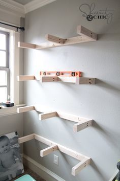 Attach Shelves to wall More