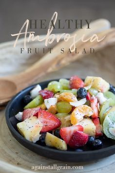 This dairy-free fruit salad is a light and refreshing take on ambrosia. Gluten free & paleo, it's the perfect breakfast side or snack! #ambrosiafruitsalad #fruitsalad #dairyfree Vegetarian Salad Recipes, Fruit Salad Recipes, Yogurt Recipes, Fruit Salads, Healthy Salads, Healthy Food, Dairy Free Recipes, Gluten Free, Paleo Recipes