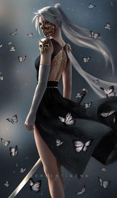 Fantasy Art Women, Beautiful Fantasy Art, Dark Fantasy Art, Fantasy Girl, Fantasy Artwork, Anime Art Fantasy, Fantasy Female Warrior, Anime Warrior, Warrior Girl