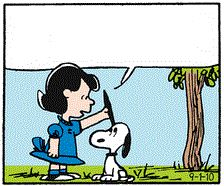 Clip Art: Snoopy listening well with Lucy
