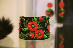 Poppies Polymer Clay Jewelry Floral Design Cuff Bracelet Earrings Set in Red Black and Green by DASH Art Studio (WJ9-6)