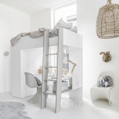 Hoogslaper 'Ombre' van Petite Amélie met kinder bureau en kledingkast