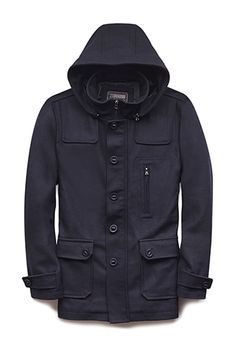 Give him some winter style with this navy parka from Forever21 Men.