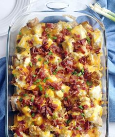 This Twice Baked Potato Casserole has all the delicious flavors from a twice baked potato, but in a quick and simple casserole form. It's loaded with sour cream, grated cheese and bacon. . .what's not to love? Definitely comfort food at its best.