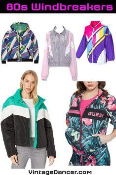 80s Windbreaker jackets for girls guys men women 1980s jackets VintageDancer Diy 80's Fashion, Boys 80s Fashion, Retro Fashion, Fashion Trends, 80s Workout Clothes, Cool Halloween Costumes, Vintage Halloween, Halloween Makeup, Windbreaker