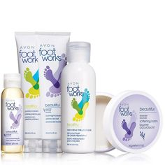 FOOT WORKS COLLECTION: A complete foot spa for perfectly pampered feet. A $29.50 value, this collection includes Foot Works Lavender 3 in 1 Pampering Oil, Restorative Milky Foot Soak, Lavender Softening Balm, Lavender Overnight Cream & Pumice Cream. You can find this & more #Avon #pedicure bundles at www.youravon.com/jantunes. #spaday
