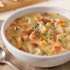 Shrimp, fish, and crab give a delicate sweetness to this light yet satisfying seafood chowder. Get more great recipes by ordering your subscription to Cooking with Paula Deen today! Shrimp Chowder, Seafood Bisque, Chowder Soup, Seafood Stew, Chowder Recipes, Seafood Dishes, Seafood Pasta, Lobster Chowder, Fresh Seafood