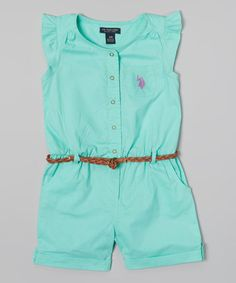 Look what I found on #zulily! Frozen Aqua Angel-Sleeve Romper - Infant, Toddler & Girls by U.S. Polo Assn. #zulilyfinds