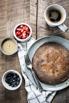 Giant Buckwheat Pancake recipe with fruit toppings + sunbutter