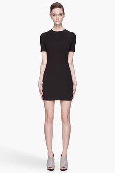 T By Alexander Wang Black Tech Suiting Fitted Dress for women | SSENSE