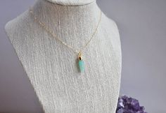 Amazonite point necklace, Amazonite Necklace, Gold Amazonite Necklace, Amazonite spike, Spike Necklace, Crystal necklace, 14k gold filled
