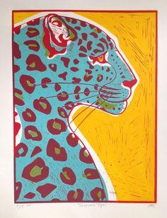 Buy Turquoise Leopard, Linocut by Alison Headley on Artfinder. Posca Art, Ecole Art, Art Graphique, Painting & Drawing, Encaustic Painting, Cat Art, Art Inspo, Art Reference, Art Projects