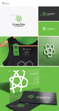 Green Star Logo by Tenuart Logo Template Features A modern and simple logo CMYK Editable and resizable vector files Editable text and color Included AI, PSD Corporate Design, Corporate Identity, Business Design, Logo Design Template, Logo Templates, Logos, Logo Branding, Pijama Satin, Print Fonts