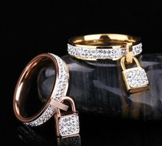 Gold color titanium steel full crystal lock rings anillos bague fashion anel feminino women ring cristal jewelry accesorios