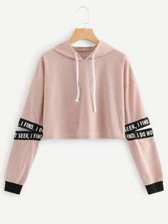 49c23a822745 Drawstring Hoodie Cut Out Sleeve Sweatshirt. Belly ShirtsCute Outfits ...
