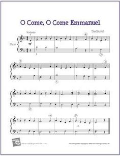 O Come, O Come Emmanuel (Christmas) | Free Sheet Music for Easy Piano - http://makingmusicfun.net/htm/f_printit_free_printable_sheet_music/o-come-emmanuel-piano.htm