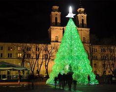 """An amazing 13 meters tall  Christmas tree in Kaunas, Lithuania """"made of 40 thousands 'SPRITE' plastic bottles."""" and the tree will have 40,000 Christmas lights. It's especially beautiful at night when it's lit from the inside and the green color of the bottles sparkles. Green color represents peace, nature and ecology."""