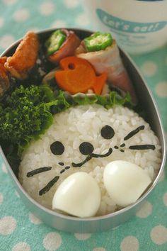 Seal Onigiri and Fish Carrot Kyaraben Bento Lunch (Steamed Rice Face, Quail Eggs Paws, Nori, Okra Bacon Roll)