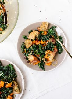 Wintery butternut kale panzanella salad - by @cookieandkate