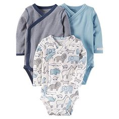 Carter's Baby Boys' 3-Pack Striped Side Snap Bodysuits 9 Months