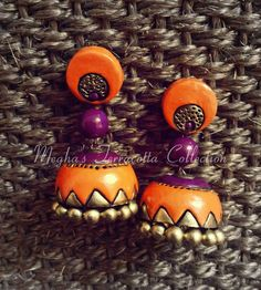 orange and violet Fancy Earrings, How To Make Earrings, Thread Jewellery, Fashion Jewellery, Funky Jewelry, Clay Jewelry, Teracotta Jewellery, Terracotta Jewellery Designs, Terracotta Earrings